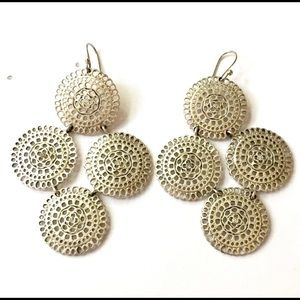 Silver Medallion dangle earrings
